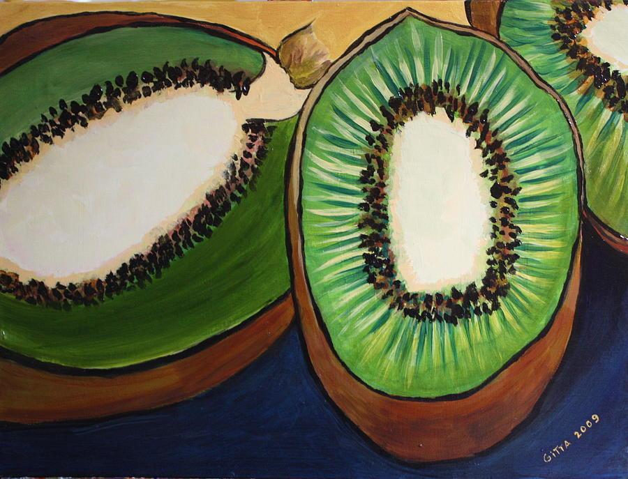 Kiwis Paintings Painting - Kiwis by Gitta Brewster