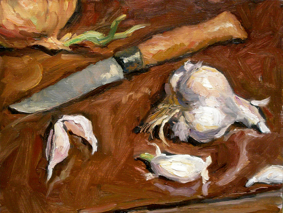 Still Painting - Knife And Garlic by Thor Wickstrom