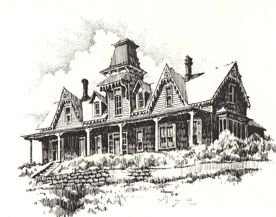 Knippenberg Mansion Glendale Ghost Town Montana Drawing By Kevin Heaney
