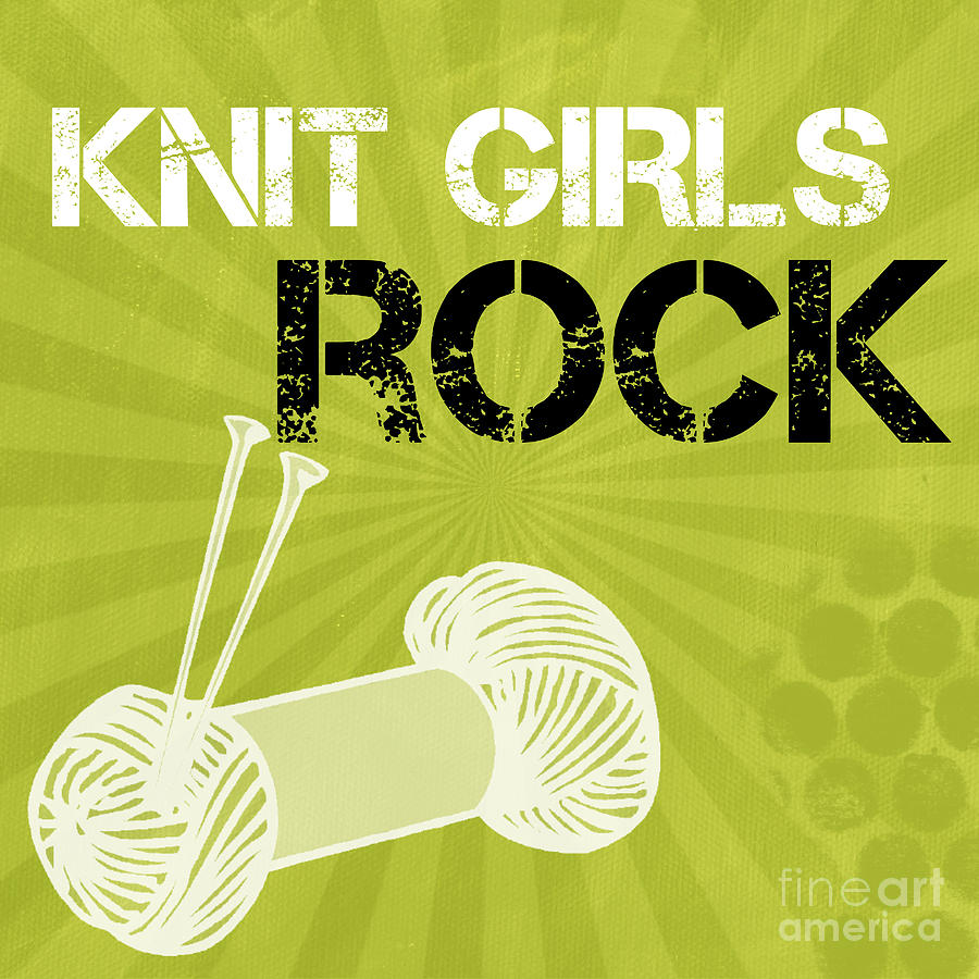 Knit Mixed Media - Knit Girls Rock by Linda Woods