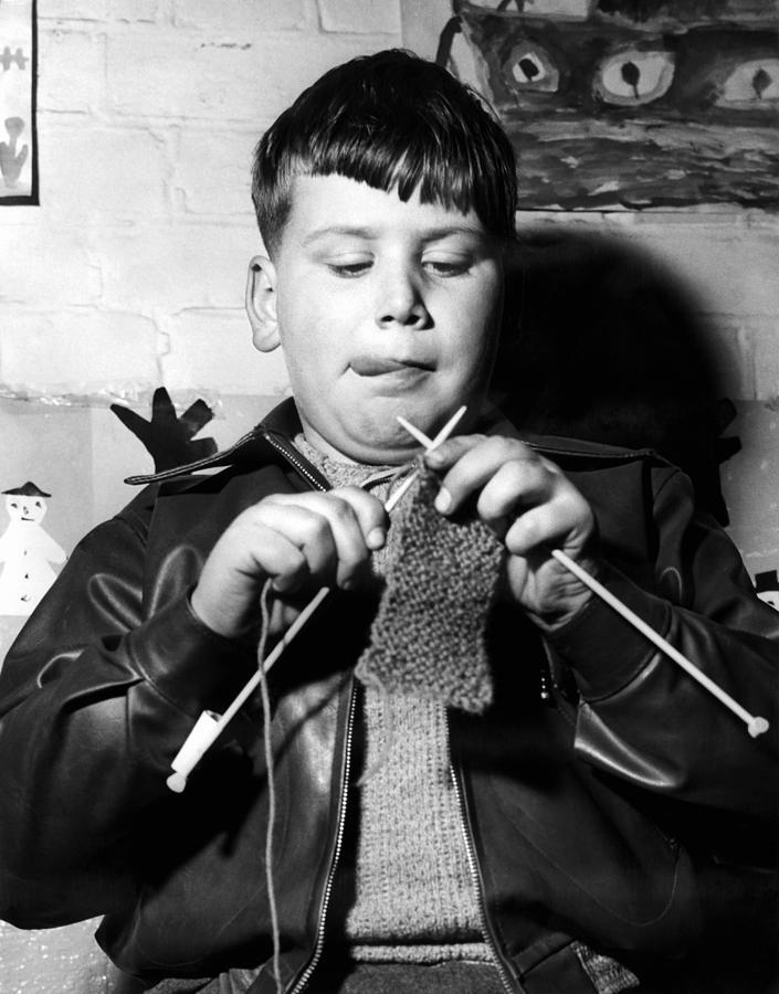 Child Photograph - Knit One Drop One by Derek Berwin