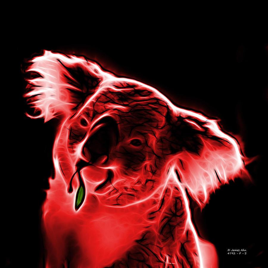 Koala Digital Art - Koala Pop Art - Red by James Ahn