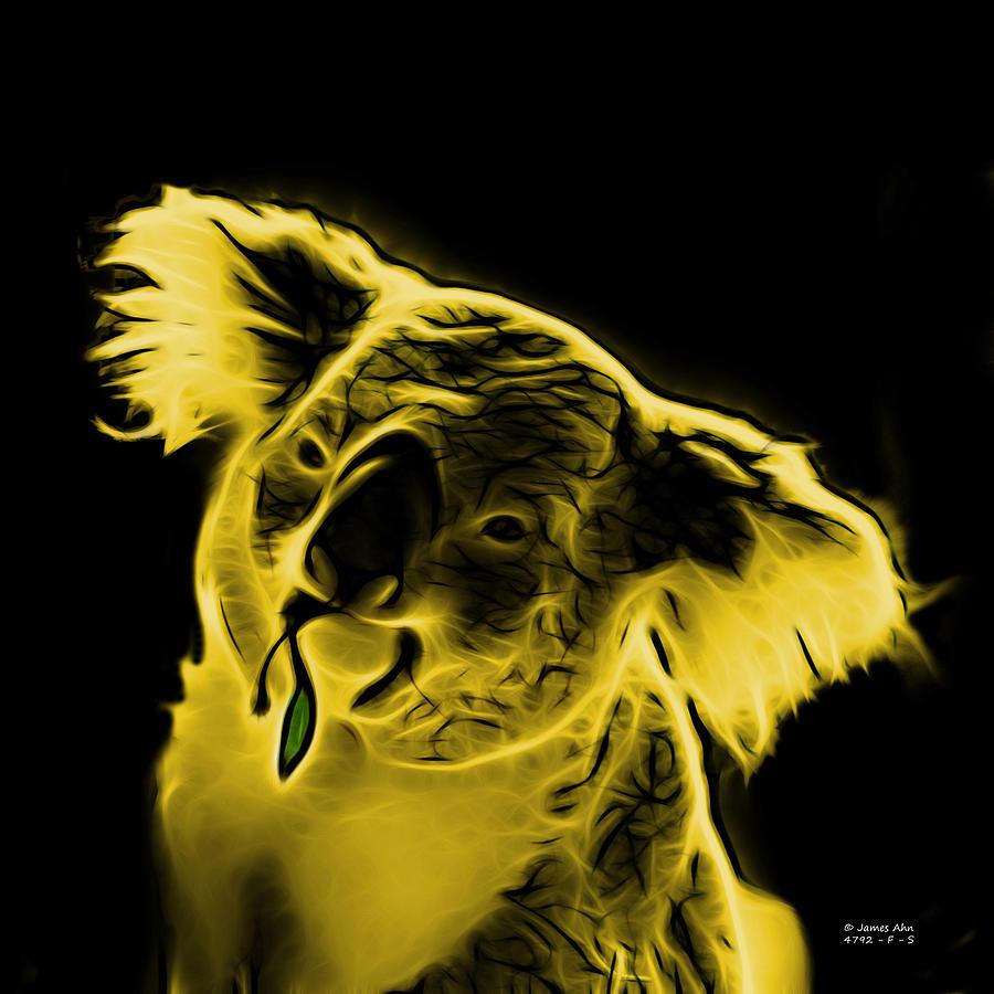Koala Digital Art - Koala Pop Art - Yellow by James Ahn