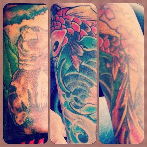 Love Photograph - Koi and Bear Tattoo by Lori Lynn Gager