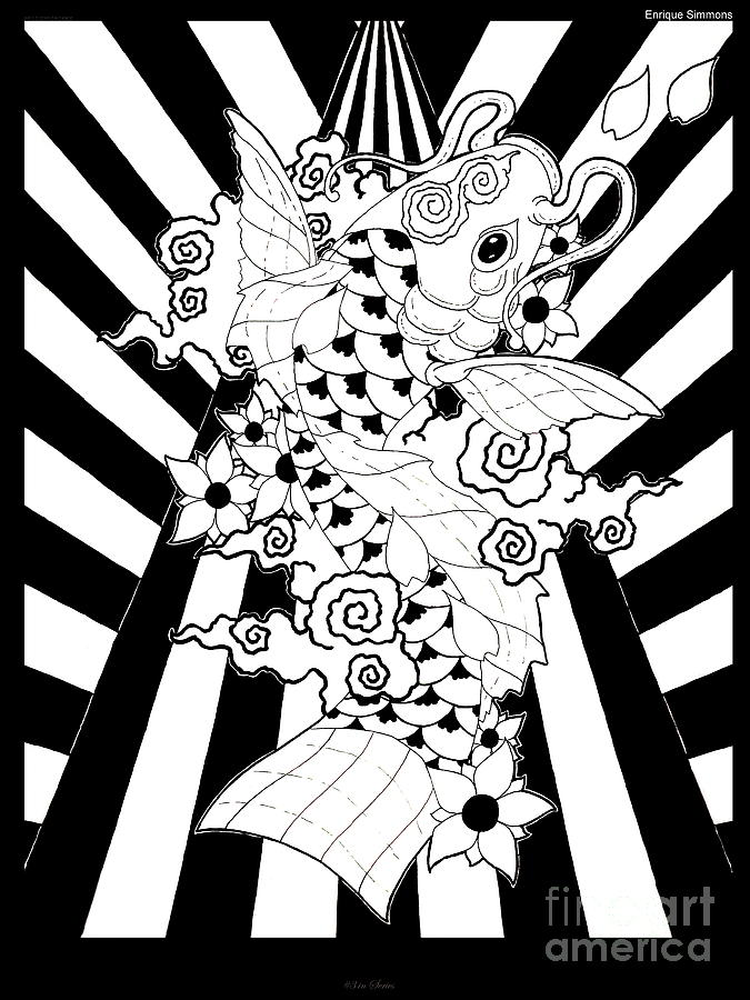 Koi Drawing - Koi Fish 3 by Enrique Simmons