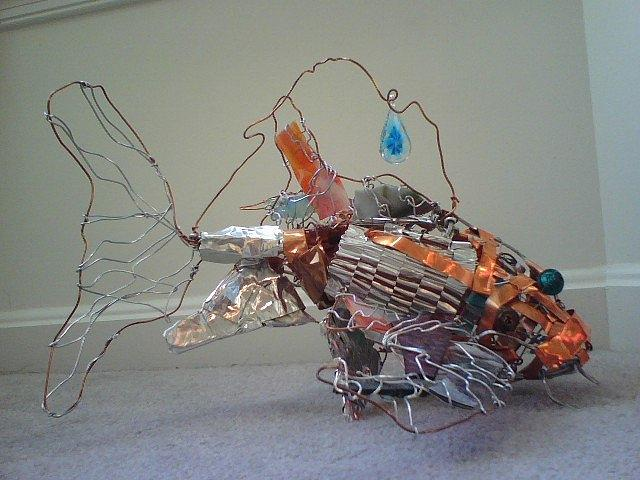 Koi fish sculpture by erica koczorowski for Koi fish metal art