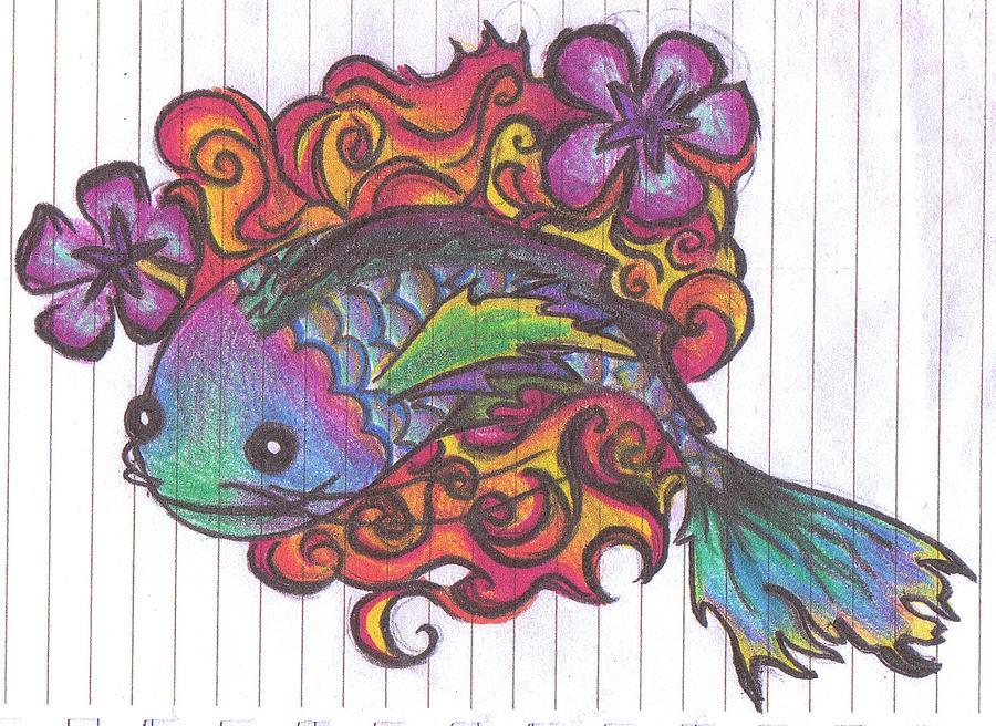 Koi Fish Drawing - Koi Fish by Stephanie Ellison