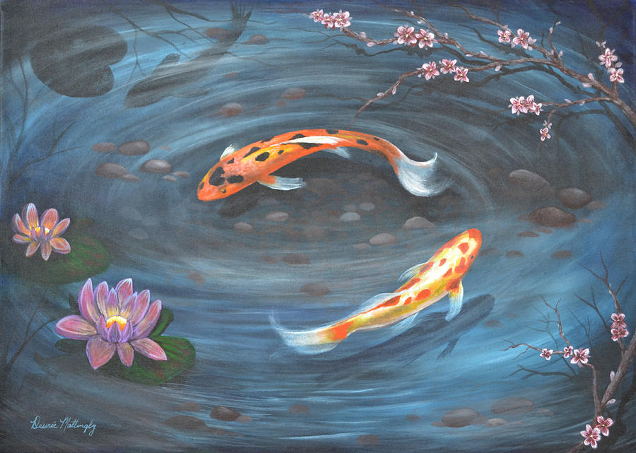 Koi pond painting by desiree mattingly for Koi pond how to