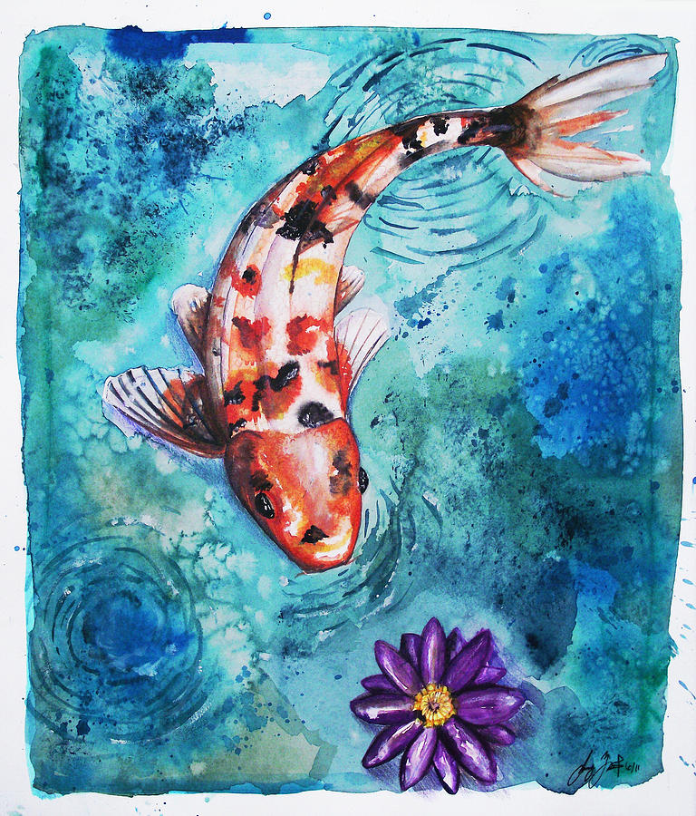 Koi pond painting by sydney gregory for Koi fish pond sydney