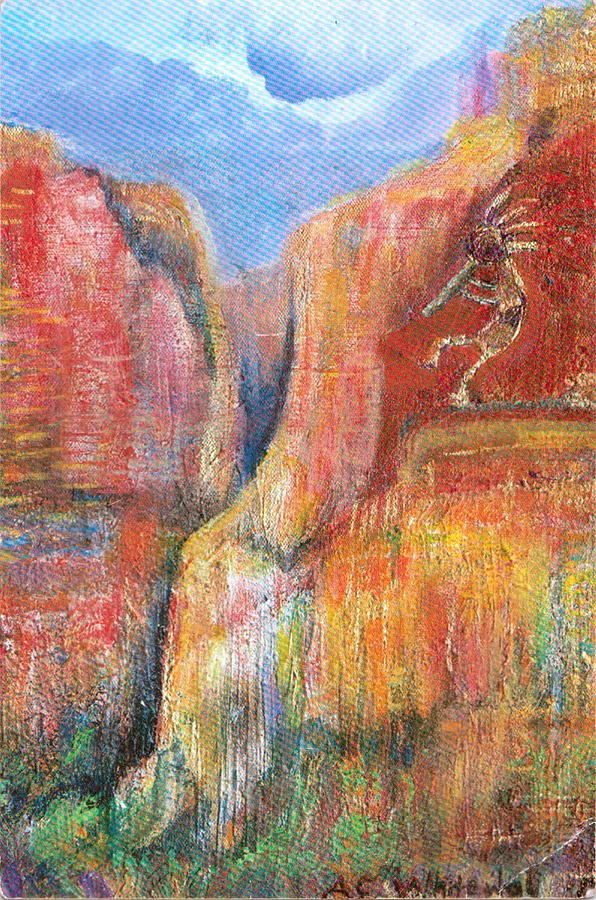 Kokopelli Painting - Kokopelli Revisited by Anne-Elizabeth Whiteway
