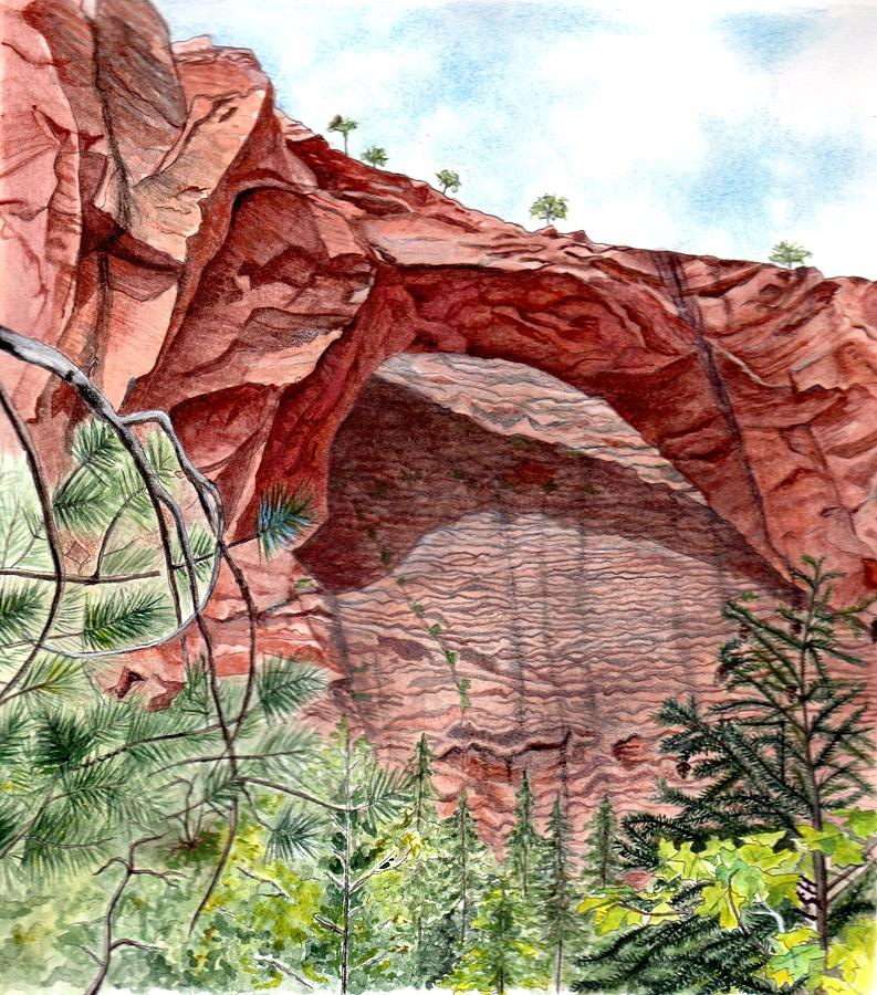 Zion National Park Mixed Media - Kolob Canyon Arch by Inger Hutton