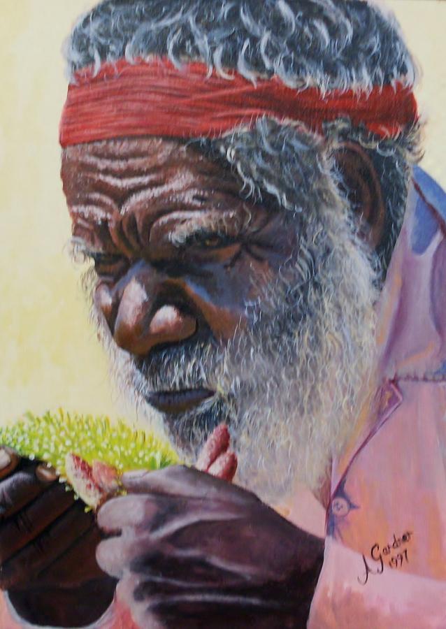 Portrait Painting - Koori Elder by Anne Gardner