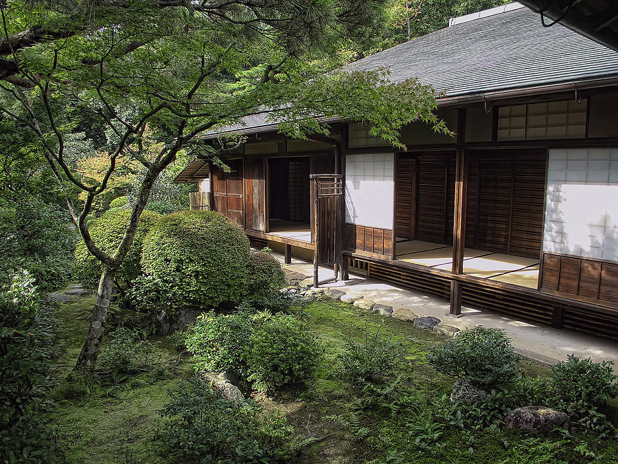 Koto in zen tea house and garden kyoto japan photograph for Japanese house garden