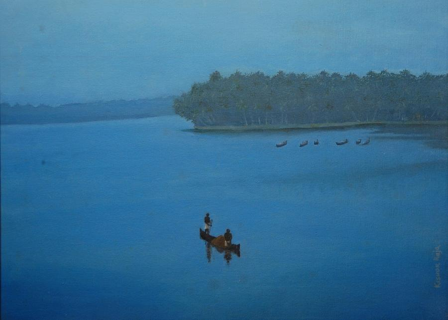 River Painting - Kr 365  Kerala River by Kishor Raja