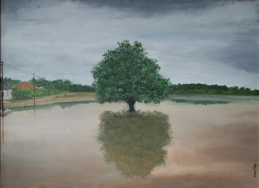 Lake Painting - Kr 374 My Reflection And Me by Kishor Raja