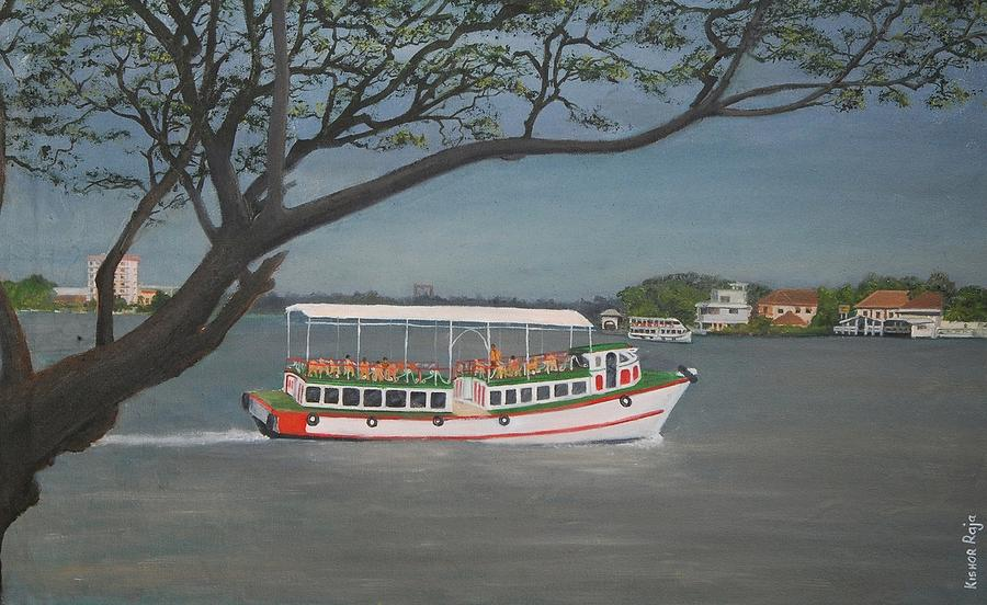 Lake Painting - Kr 376  A Journey by Kishor Raja