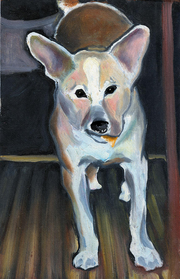 Dog Painting - Kraft Cheese Slices by Janet Kearns