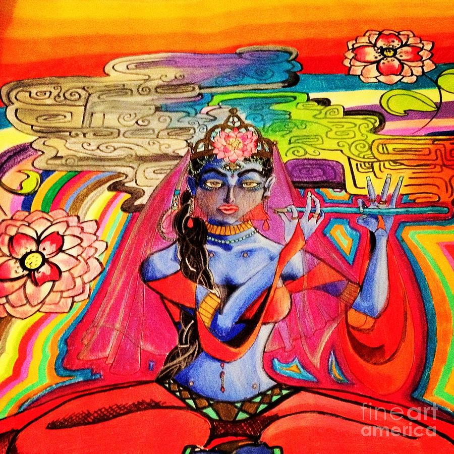 Krishna Drawing - Krishna by Jeffrey Kyker