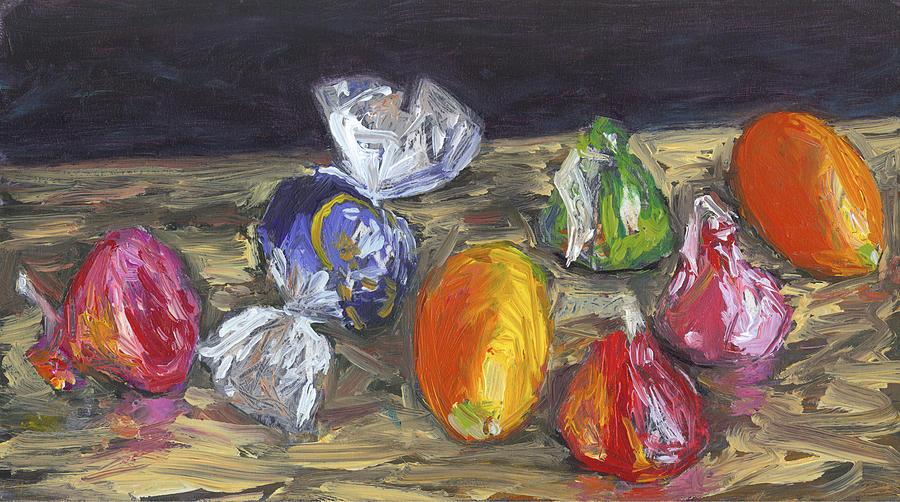 Still Life Painting - Kumquats And Candy by Scott Bennett
