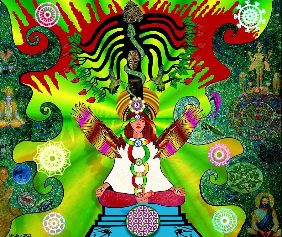 Kundalini Mixed Media - Kundalini Rising And The Tree Of Twelve Fruits by Myztico Campo