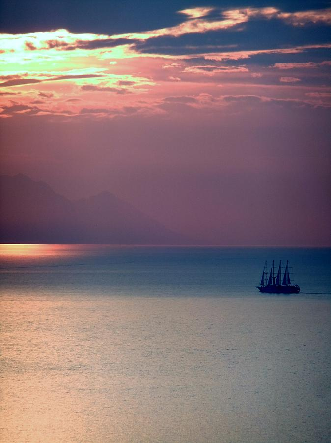 Sailing Digital Art - Kusadasi Sunset by Steve Mangan