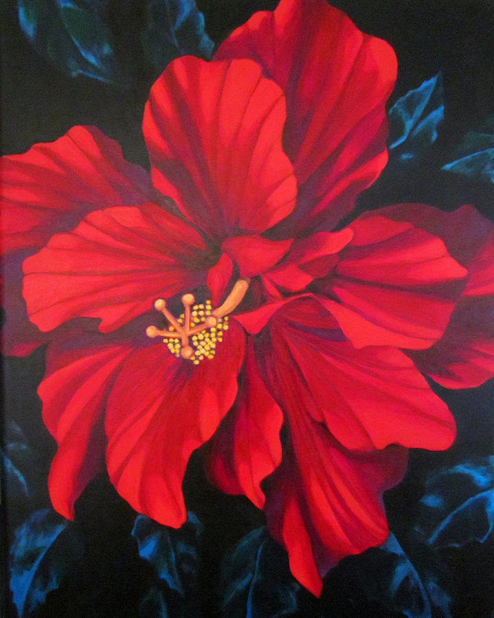 Red Multiple Petaled Hibiscus Flower. Painting - Kwan Yin by Kyra Belan
