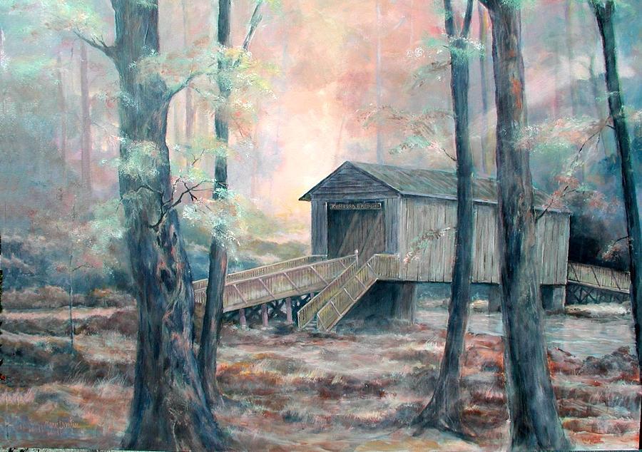 Covered Bridge Painting - Kymulga Covered Bridge by Gary Partin