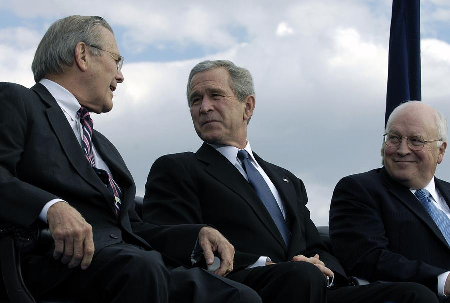 History Photograph - L To R Sec. Of Defense Donald Rumsfeld by Everett
