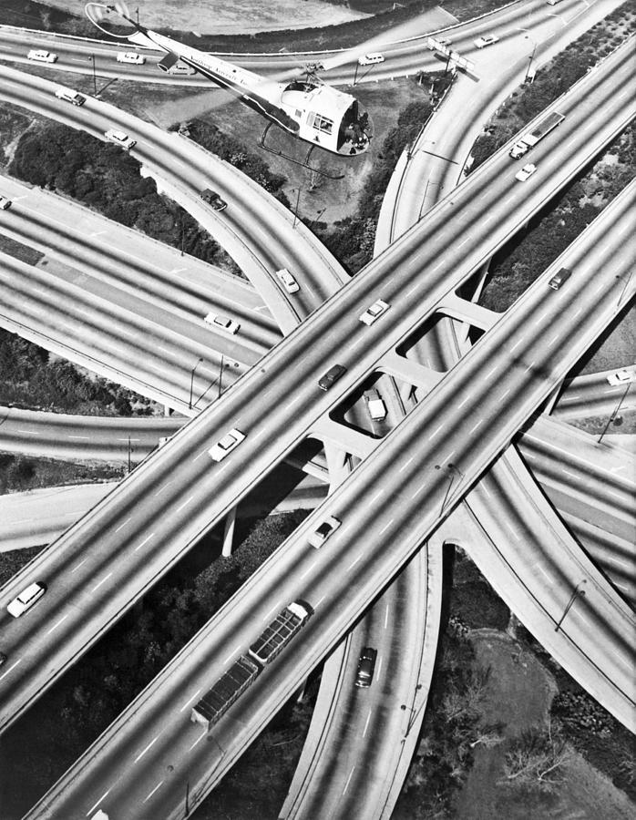 1960's Photograph - La Freeway Interchange by Underwood Archives
