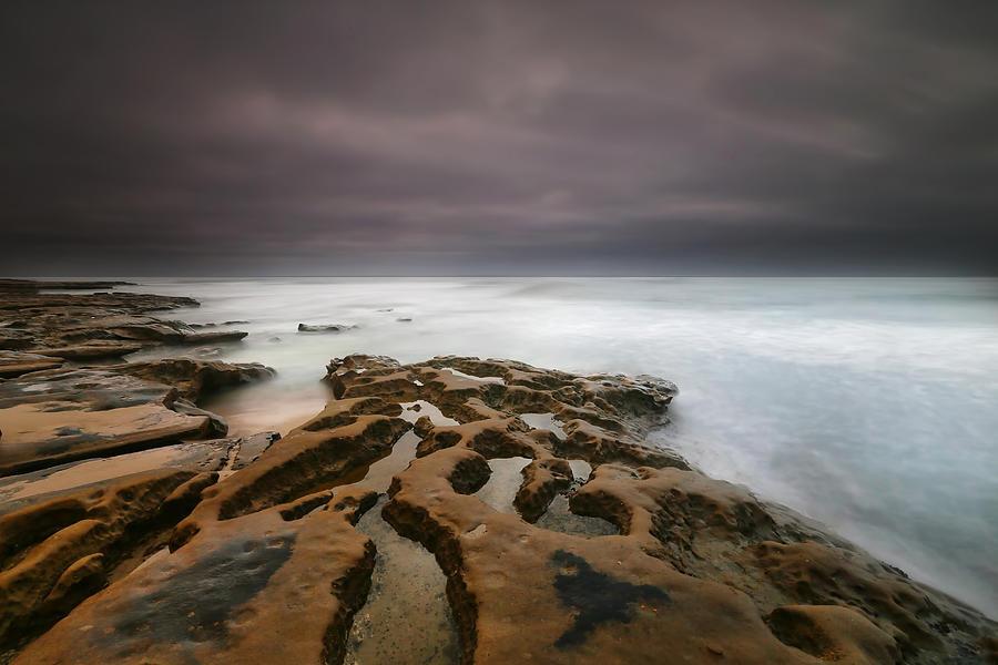 Sun Photograph - La Jolla Reef Sunset 5 by Larry Marshall
