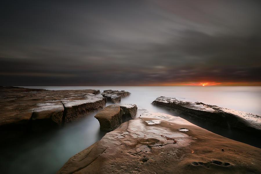 Sun Photograph - La Jolla Reef Sunset by Larry Marshall