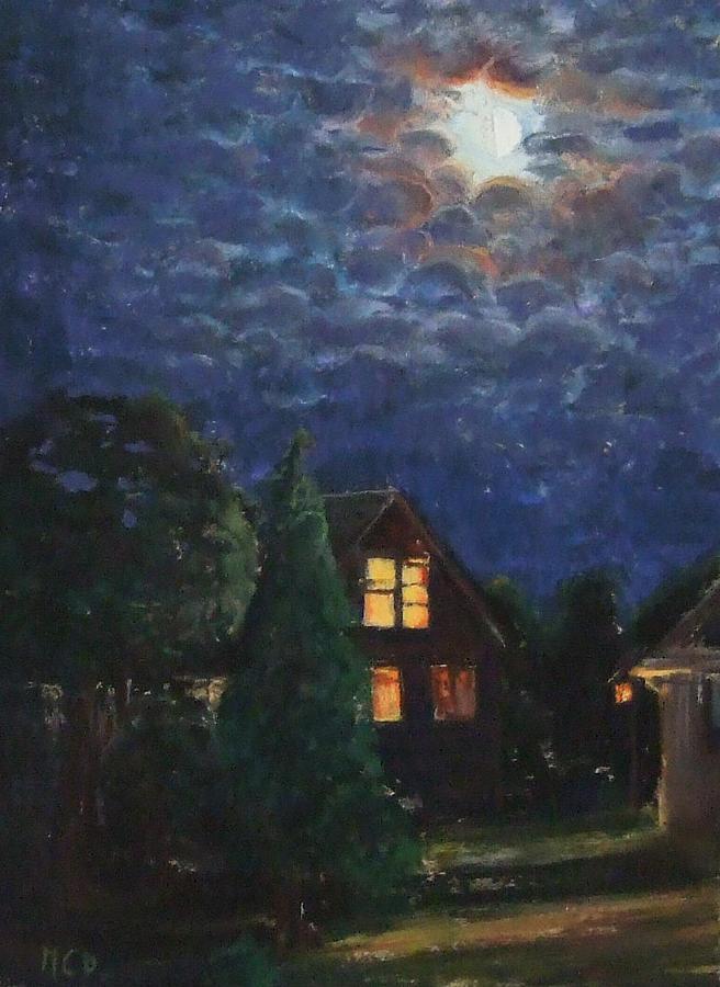Night Lights Painting - La Maison du Voisin by Marie-Claire Dole