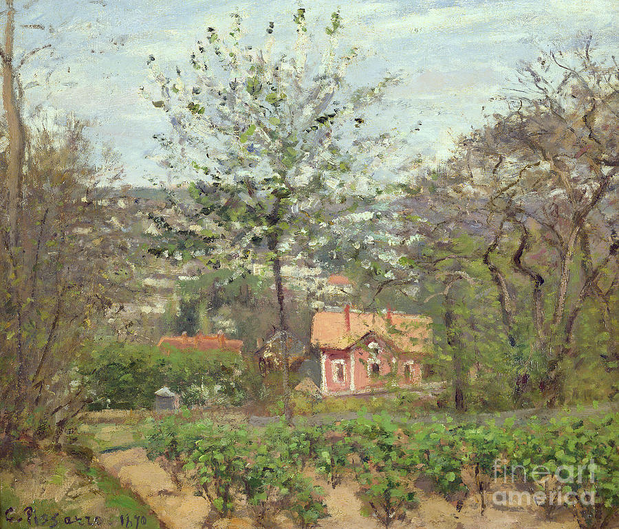 Camille Painting - La Maison Rose by Camille Pissarro