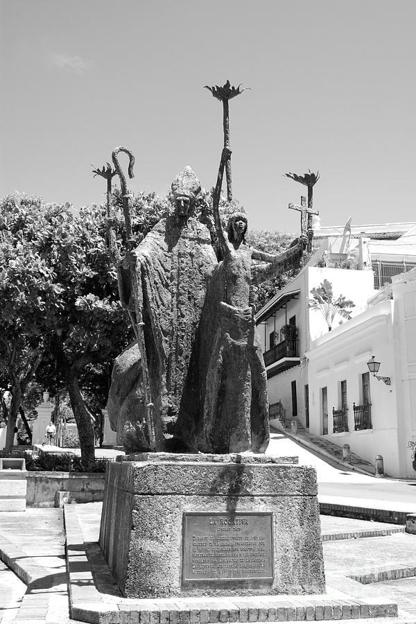 Old San Juan Photograph - La Rogativa Sculpture Old San Juan Puerto Rico Black And White by Shawn OBrien