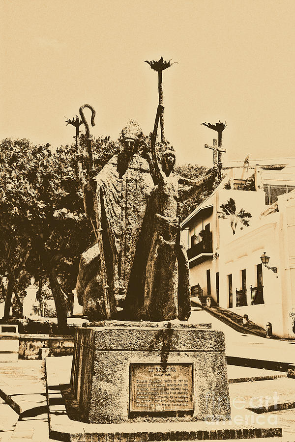 Old San Juan Digital Art - La Rogativa Sculpture Old San Juan Puerto Rico Rustic by Shawn OBrien