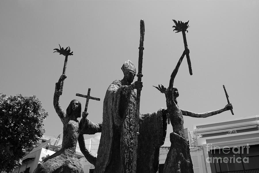 Old San Juan Photograph - La Rogativa Statue Old San Juan Puerto Rico Black And White by Shawn OBrien