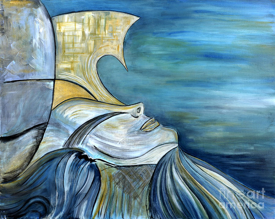 Blue Woman Painting - Beautiful Mysterious Blue Woman Portrait La Sirene French For Mermaid Mythic Siren Original Painting by Marie Christine Belkadi