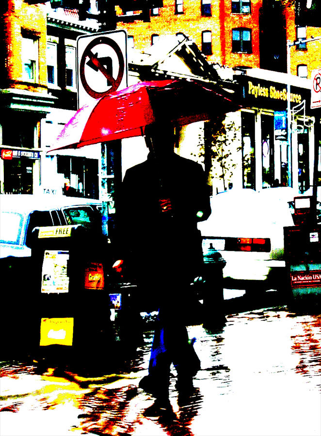 Abstract Digital Photography Red Umbrella Photograph - La Sombria Roja by Erick Andrade