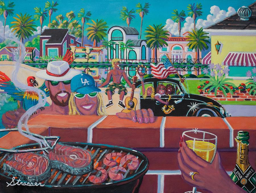 Holidays Painting - Labor Day Venice Style by Frank Strasser