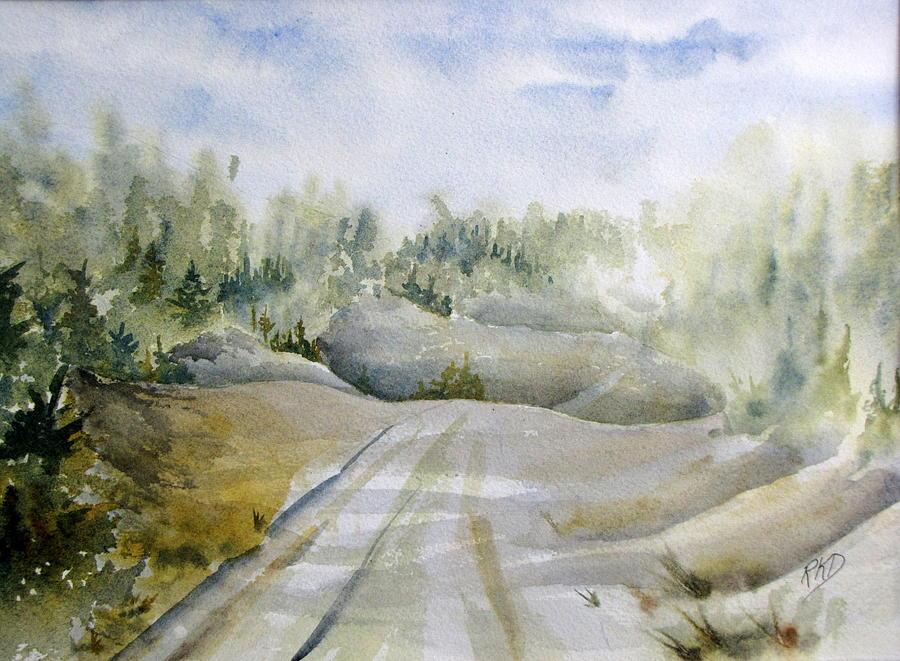 Road Painting - Labrador Wilderness by Ramona Kraemer-Dobson