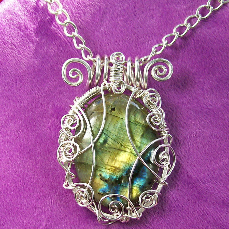 Wire Jewelry - Labradorite And Silver Scribble Pendant by Heather Jordan