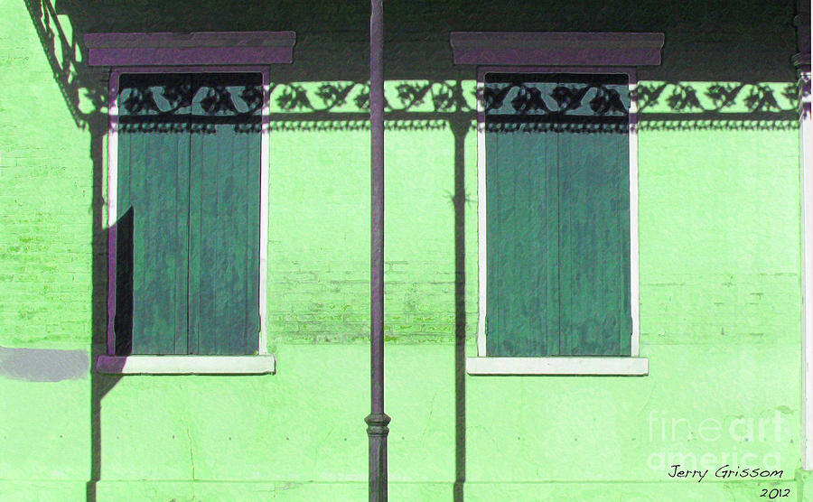 Nola Painting - Lace Shadows And Plank Shutters by Jerry Grissom