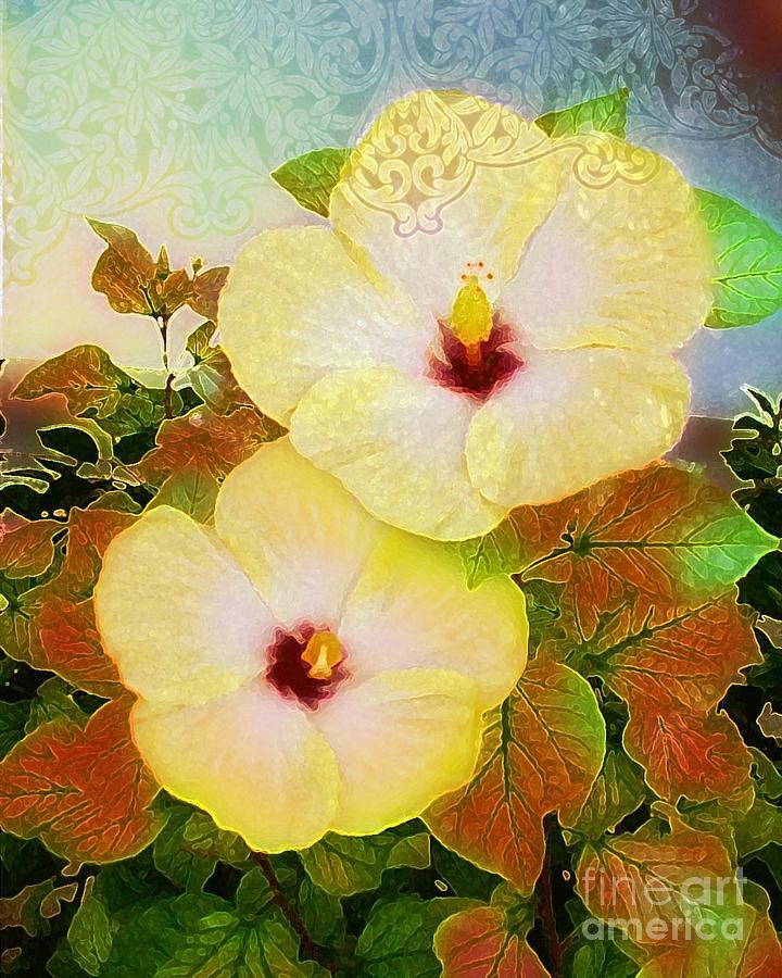 Yellow Digital Art - Lacey Hibiscus by Ruth Kongaika