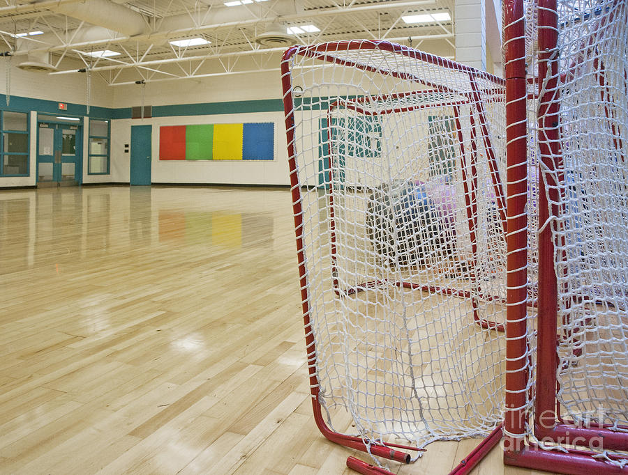 Auditorium Photograph - Lacrosse Goals In A Gymnasium by Marlene Ford