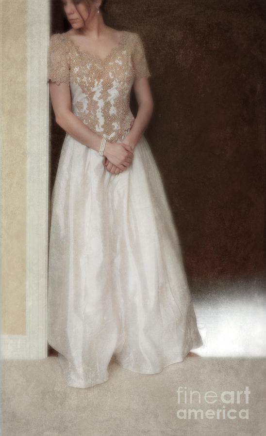Lacy In Ecru Lace Gown Photograph by Jill Battaglia