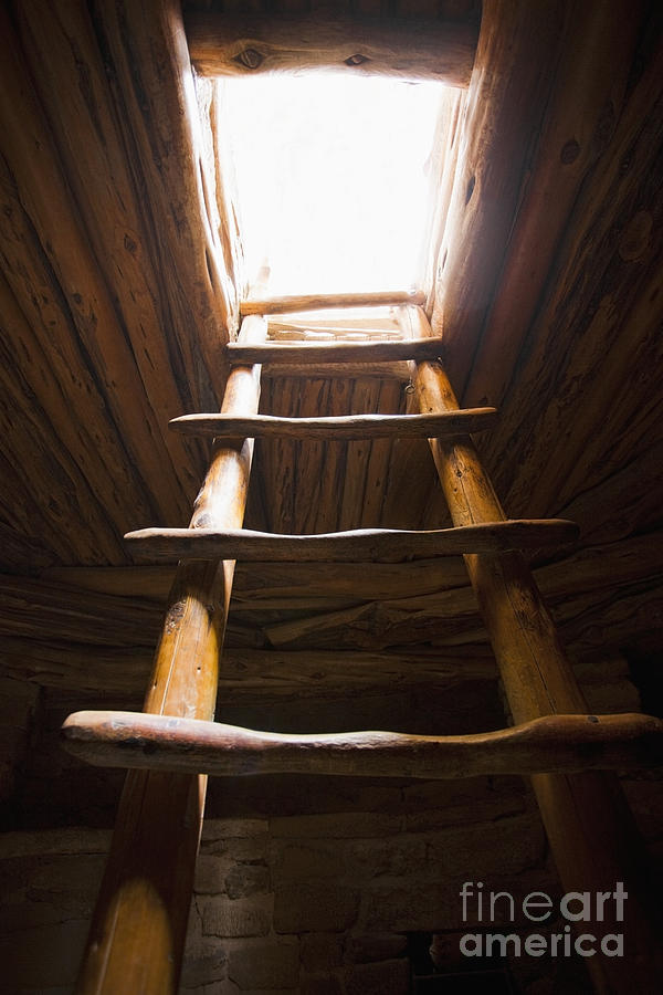 Ancient Photograph - Ladder Of A Native American Cliff Dwelling by Bryan Mullennix