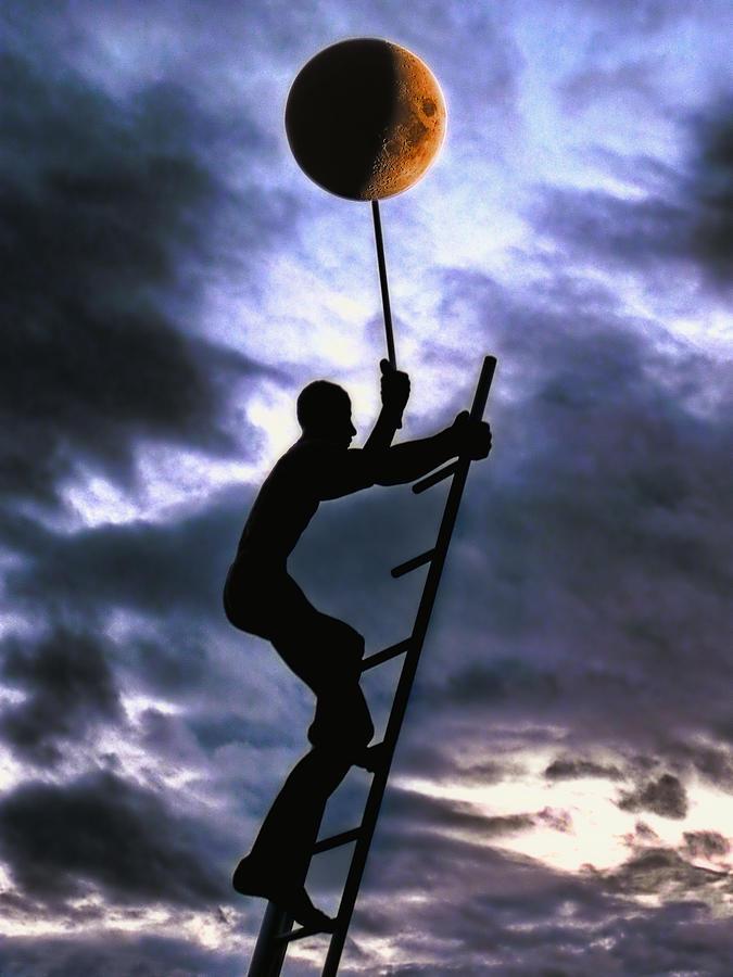 Man Photograph - Ladder To The Moon by Joachim G Pinkawa