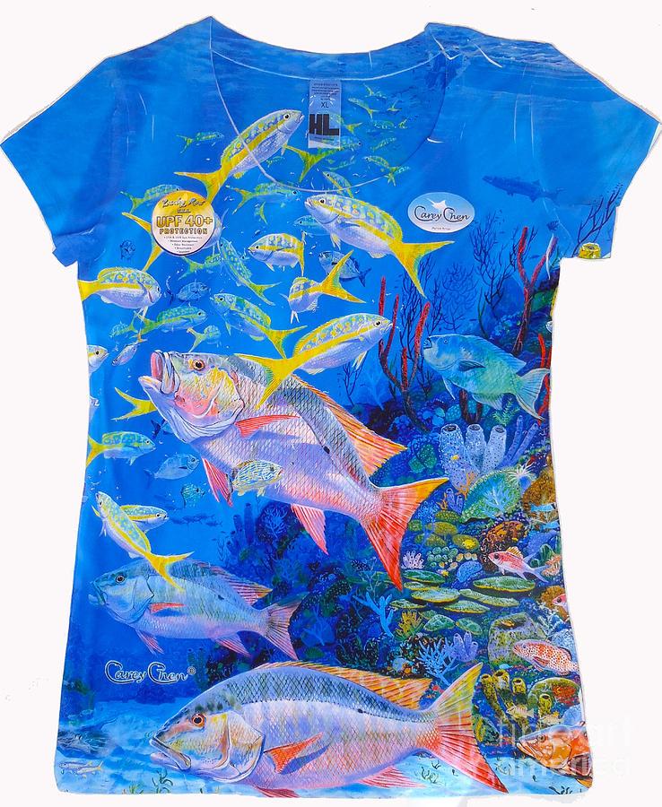 Carey Chen Digital Art - Ladies Mutton Snapper Shirt by Carey Chen