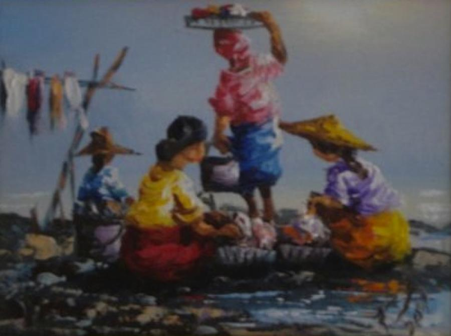 River Painting - Ladies  Washing Clothes The River by Pretchill Smith