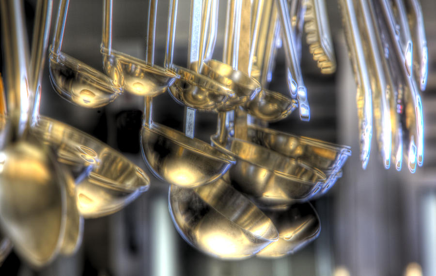 Commercial Kitchen Photograph - Ladles And Spoons by Steve Gravano